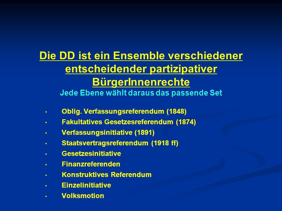 Die DD ist ein Ensemble verschiedener entscheidender partizipativer BürgerInnenrechte Jede Ebene wählt daraus das passende Set Oblig.