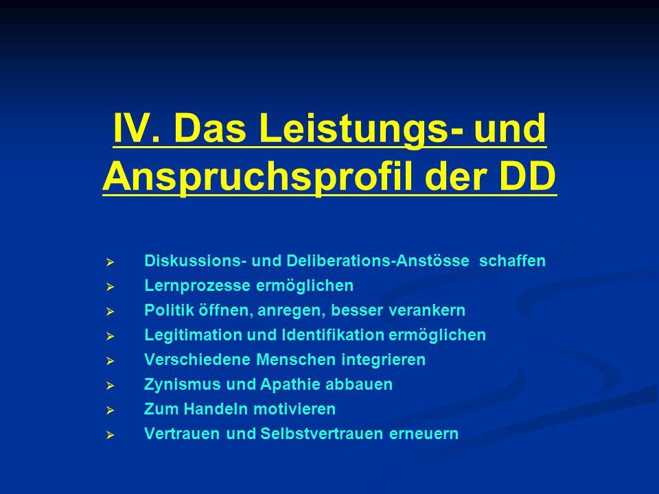 IV. Das Leistungs- und Anspruchsprofil der DD   Diskussions- und Deliberations-Anstösse schaffen   Lernprozesse ermöglichen   Politik öffnen, an