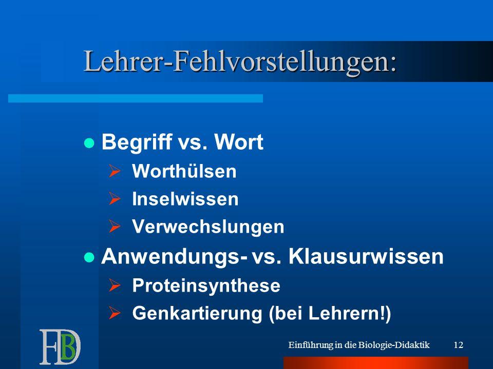 Einführung in die Biologie-Didaktik12 Lehrer-Fehlvorstellungen: Begriff vs.