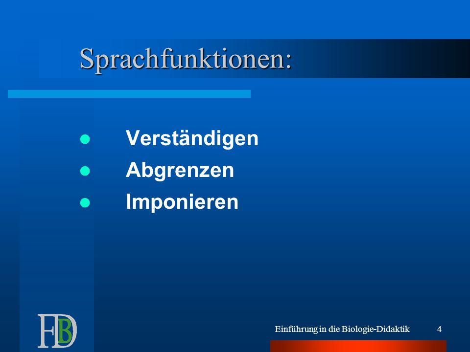 Einführung in die Biologie-Didaktik4 Sprachfunktionen: Verständigen Abgrenzen Imponieren