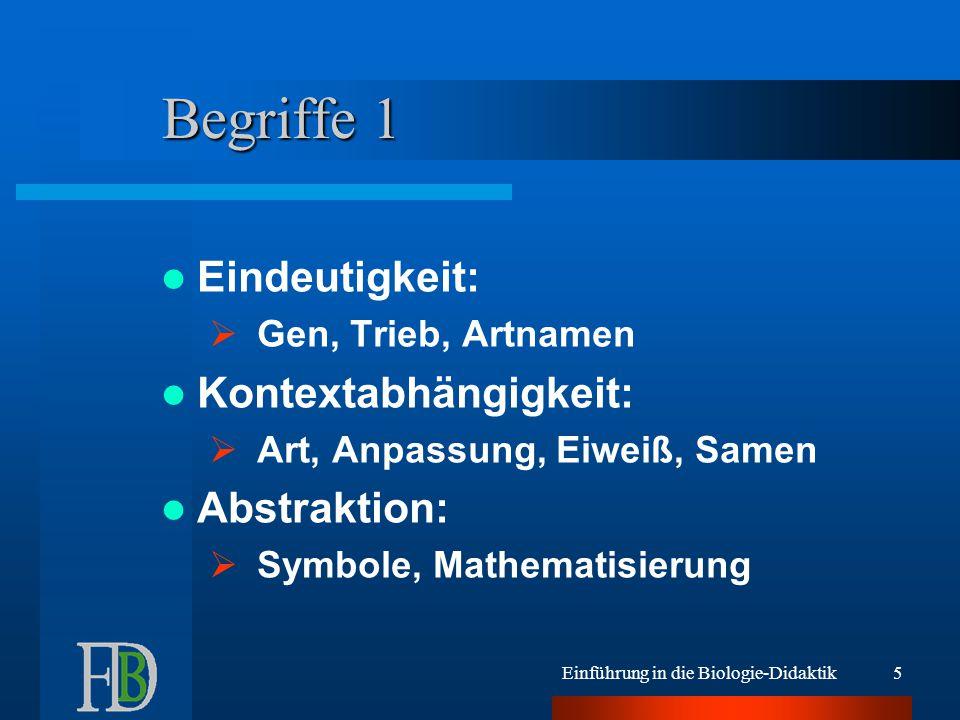 Einführung in die Biologie-Didaktik5 Begriffe 1 Eindeutigkeit:  Gen, Trieb, Artnamen Kontextabhängigkeit:  Art, Anpassung, Eiweiß, Samen Abstraktion:  Symbole, Mathematisierung