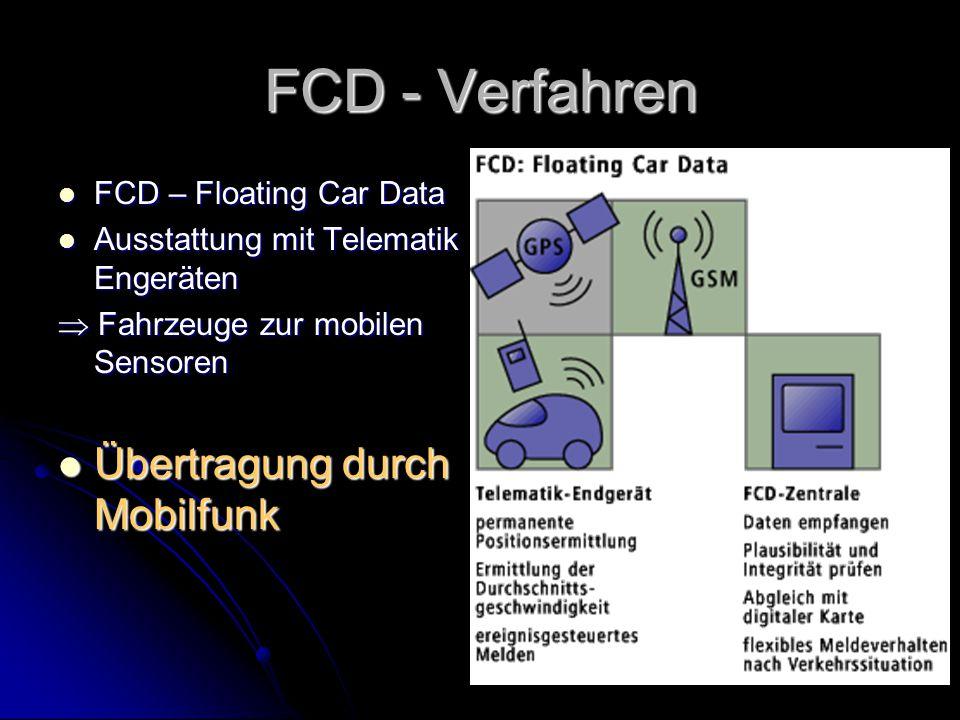 15 FCD - Verfahren FCD – Floating Car Data FCD – Floating Car Data Ausstattung mit Telematik Engeräten Ausstattung mit Telematik Engeräten  Fahrzeuge zur mobilen Sensoren Übertragung durch Mobilfunk Übertragung durch Mobilfunk