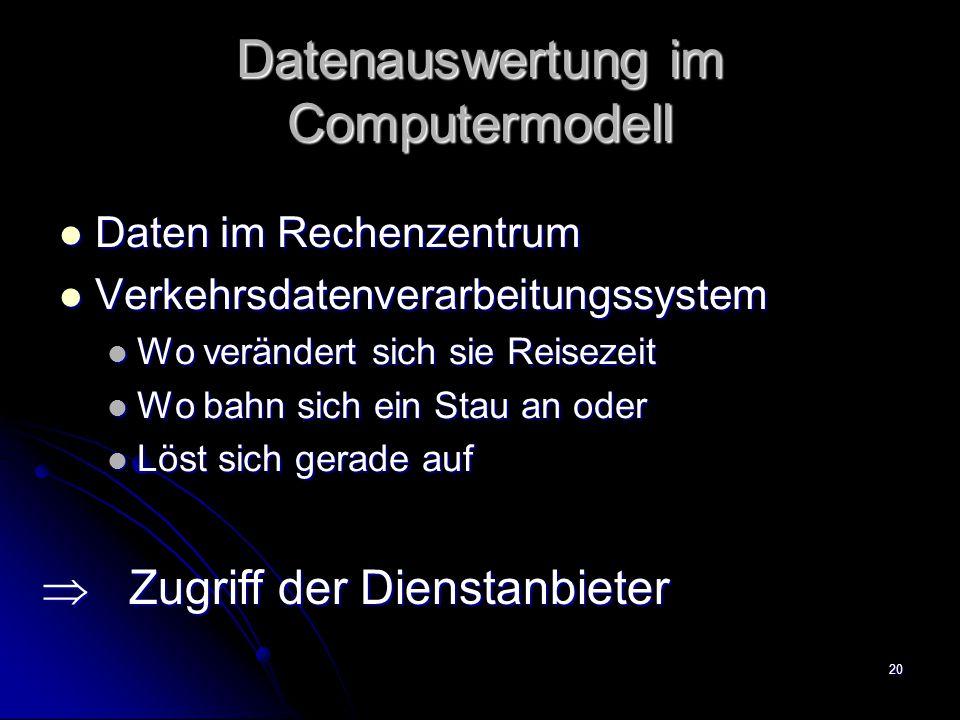 20 Datenauswertung im Computermodell Daten im Rechenzentrum Daten im Rechenzentrum Verkehrsdatenverarbeitungssystem Verkehrsdatenverarbeitungssystem W