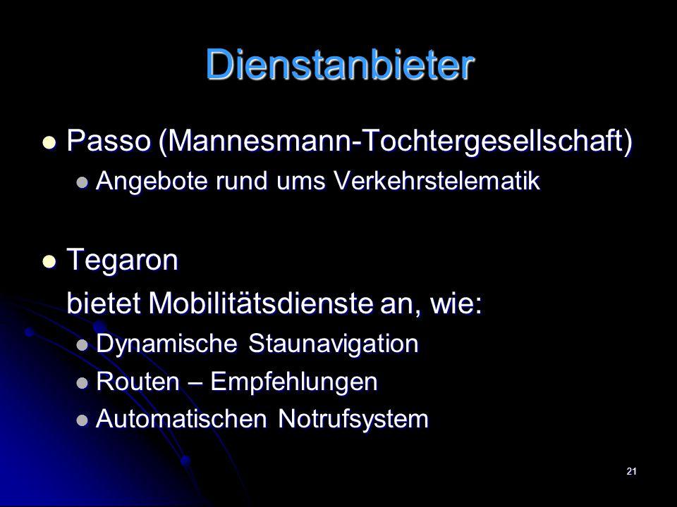 21 Dienstanbieter Passo (Mannesmann-Tochtergesellschaft) Passo (Mannesmann-Tochtergesellschaft) Angebote rund ums Verkehrstelematik Angebote rund ums