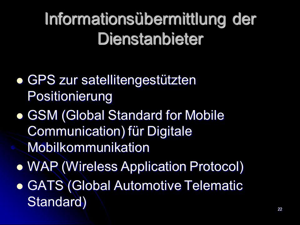 22 Informationsübermittlung der Dienstanbieter GPS zur satellitengestützten Positionierung GPS zur satellitengestützten Positionierung GSM (Global Sta
