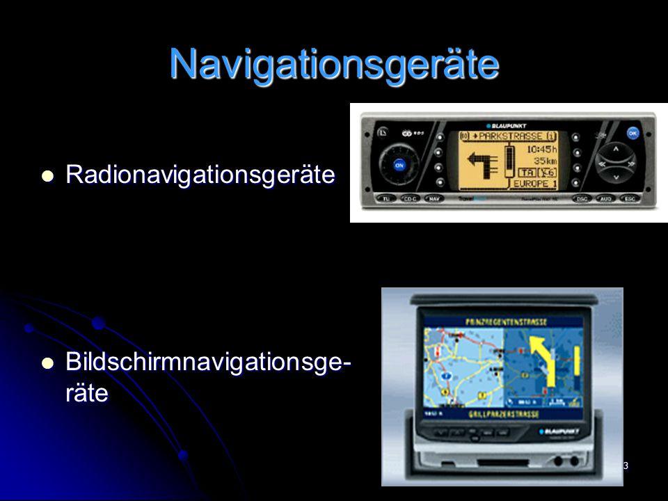 23 Navigationsgeräte Radionavigationsgeräte Radionavigationsgeräte Bildschirmnavigationsge- räte Bildschirmnavigationsge- räte