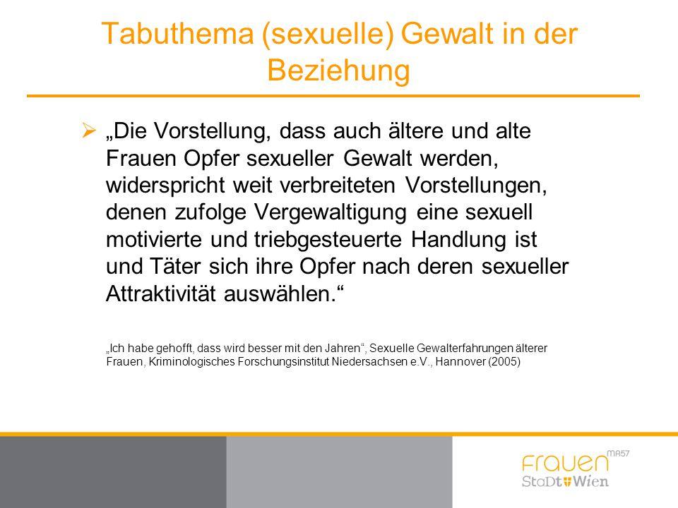 """Tabuthema (sexuelle) Gewalt in der Beziehung  """"Die Vorstellung, dass auch ältere und alte Frauen Opfer sexueller Gewalt werden, widerspricht weit ver"""