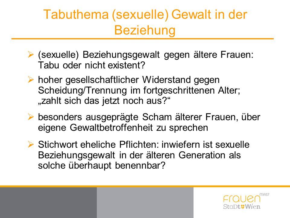Tabuthema (sexuelle) Gewalt in der Beziehung  (sexuelle) Beziehungsgewalt gegen ältere Frauen: Tabu oder nicht existent?  hoher gesellschaftlicher W