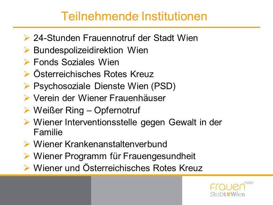 Teilnehmende Institutionen  24-Stunden Frauennotruf der Stadt Wien  Bundespolizeidirektion Wien  Fonds Soziales Wien  Österreichisches Rotes Kreuz