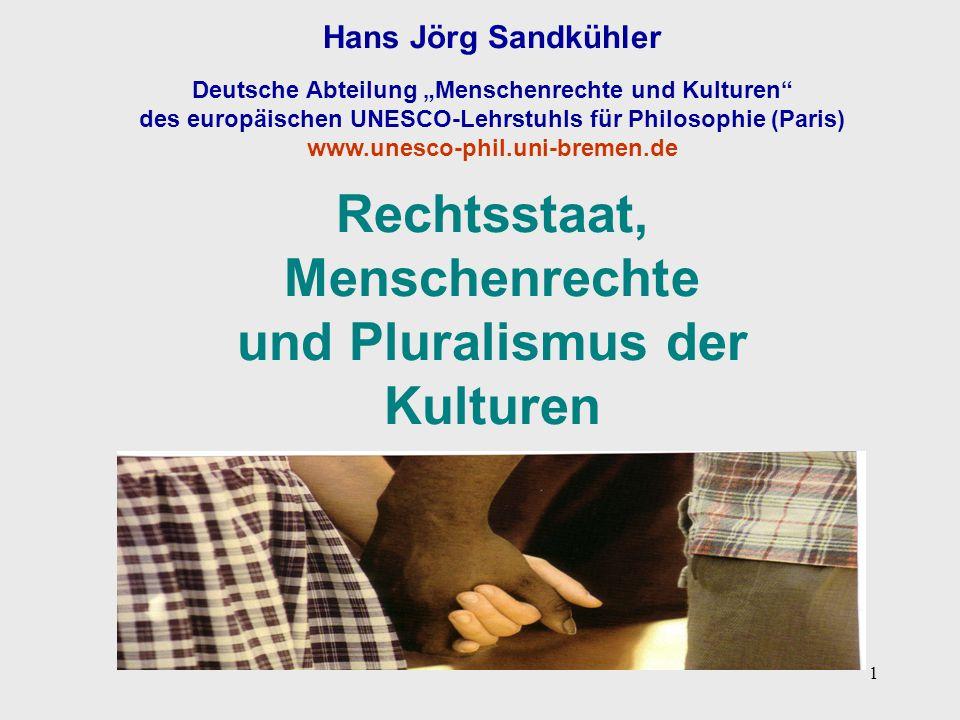 """1 Hans Jörg Sandkühler Deutsche Abteilung """"Menschenrechte und Kulturen"""" des europäischen UNESCO-Lehrstuhls für Philosophie (Paris) www.unesco-phil.uni"""
