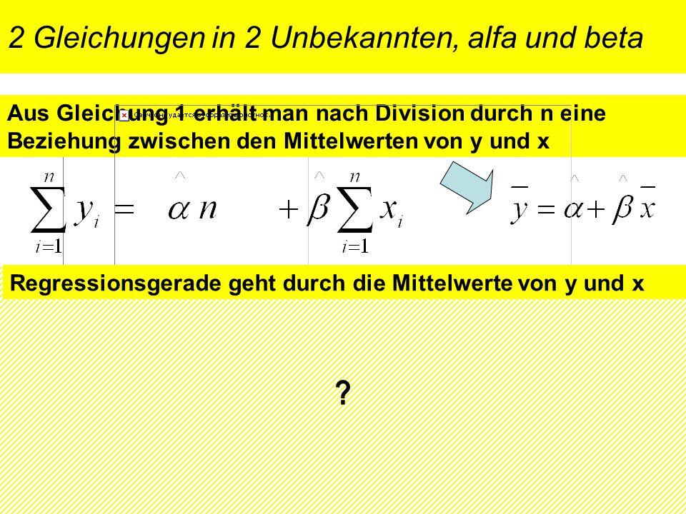 2 Gleichungen in 2 Unbekannten, alfa und beta Aus Gleichung 1 erhält man nach Division durch n eine Beziehung zwischen den Mittelwerten von y und x Au