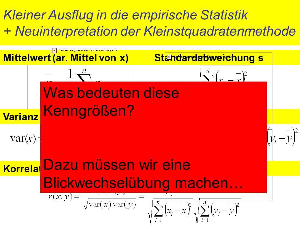 Kleiner Ausflug in die empirische Statistik + Neuinterpretation der Kleinstquadratenmethode Mittelwert (ar. Mittel von x) Varianz var(x) = s 2 Kovaria