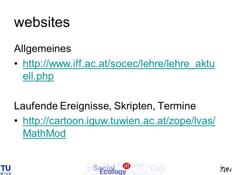 websites Allgemeines http://www.iff.ac.at/socec/lehre/lehre_aktu ell.phphttp://www.iff.ac.at/socec/lehre/lehre_aktu ell.php Laufende Ereignisse, Skrip