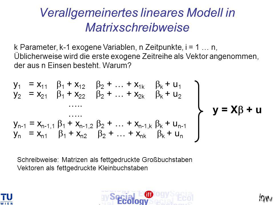 Verallgemeinertes lineares Modell in Matrixschreibweise y 1 = x 11  1 + x 12  2 + … + x 1k  k + u 1 y 2 = x 21  1 + x 22  2 + … + x 2k  k + u 2
