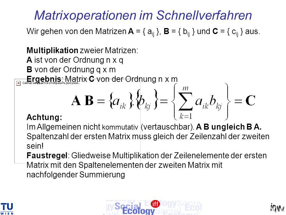 Matrixoperationen im Schnellverfahren Wir gehen von den Matrizen A = { a ij }, B = { b ij } und C = { c ij } aus. Multiplikation zweier Matrizen: A is