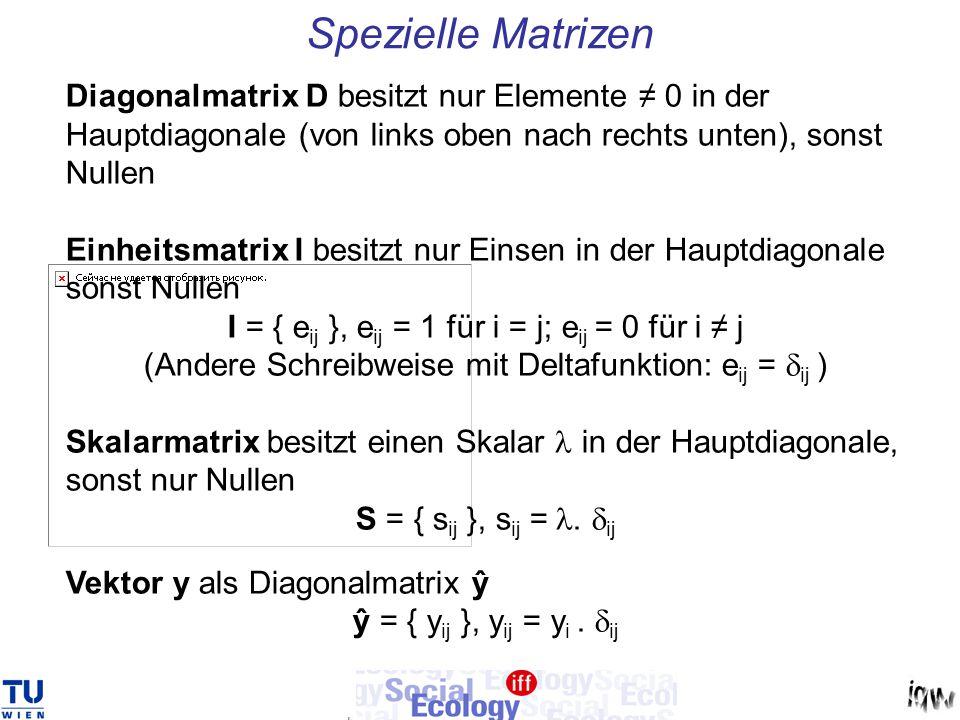 Spezielle Matrizen Diagonalmatrix D besitzt nur Elemente ≠ 0 in der Hauptdiagonale (von links oben nach rechts unten), sonst Nullen Einheitsmatrix I b