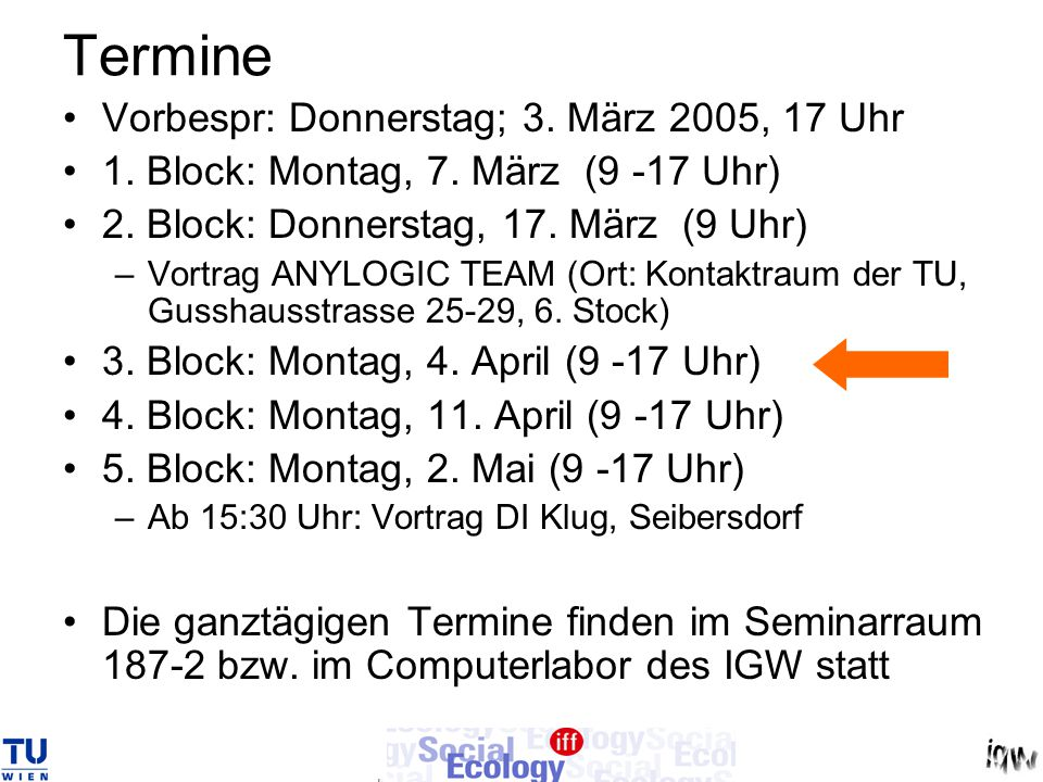 Termine Vorbespr: Donnerstag; 3. März 2005, 17 Uhr 1. Block: Montag, 7. März (9 -17 Uhr) 2. Block: Donnerstag, 17. März (9 Uhr) –Vortrag ANYLOGIC TEAM