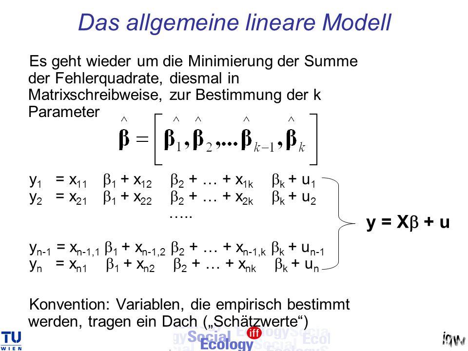 Das allgemeine lineare Modell Es geht wieder um die Minimierung der Summe der Fehlerquadrate, diesmal in Matrixschreibweise, zur Bestimmung der k Para