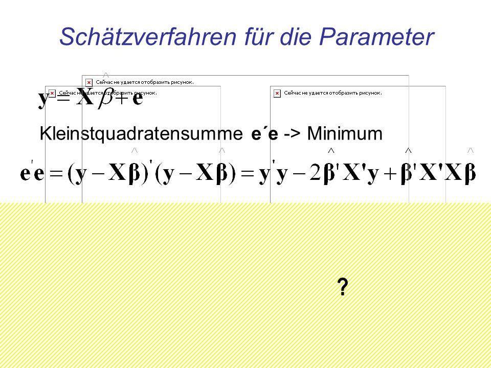 Schätzverfahren für die Parameter Kleinstquadratensumme e´e -> Minimum ? ? ?