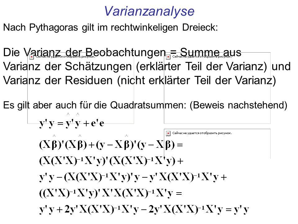 Varianzanalyse Nach Pythagoras gilt im rechtwinkeligen Dreieck: Die Varianz der Beobachtungen = Summe aus Varianz der Schätzungen (erklärter Teil der