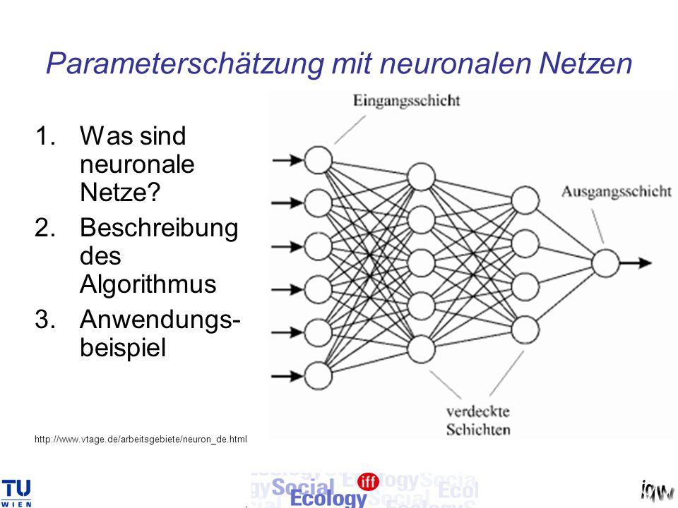 Parameterschätzung mit neuronalen Netzen 1.Was sind neuronale Netze? 2.Beschreibung des Algorithmus 3.Anwendungs- beispiel http://www.vtage.de/arbeits