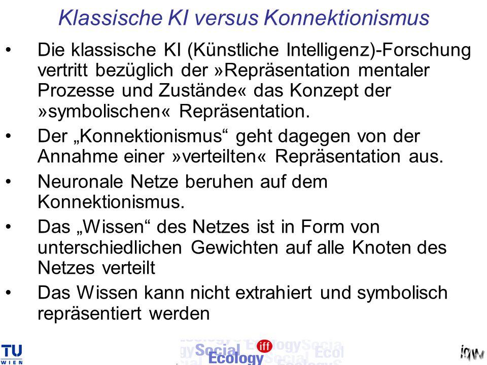 Klassische KI versus Konnektionismus Die klassische KI (Künstliche Intelligenz)-Forschung vertritt bezüglich der »Repräsentation mentaler Prozesse und