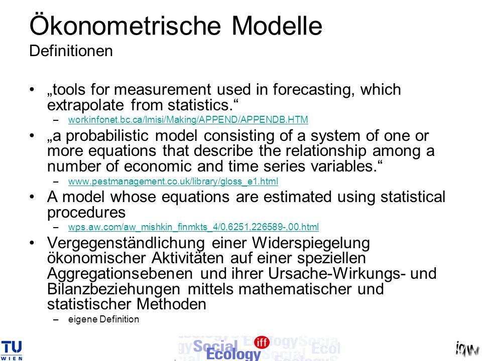 Ökonometrische Modelle Mathematische Form: Lineare oder nicht-lineare Gleichung bzw.