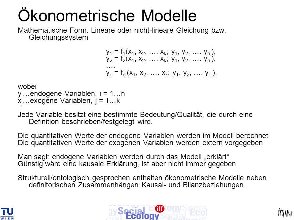 Ökonometrische Modelle Mathematische Form: Lineare oder nicht-lineare Gleichung bzw. Gleichungssystem y 1 = f 1 (x 1, x 2, …. x k ; y 1, y 2, …. y n )