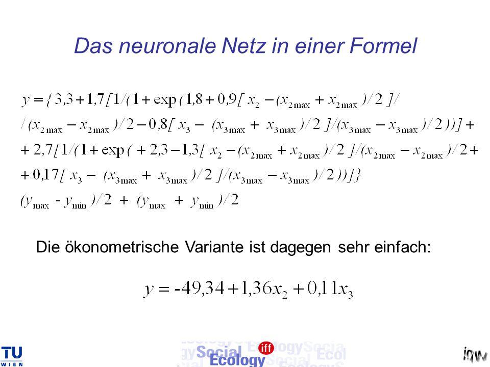 Das neuronale Netz in einer Formel Die ökonometrische Variante ist dagegen sehr einfach: