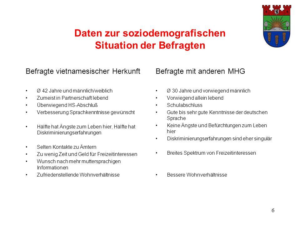 6 Daten zur soziodemografischen Situation der Befragten Befragte vietnamesischer Herkunft Ø 42 Jahre und männlich/weiblich Zumeist in Partnerschaft le