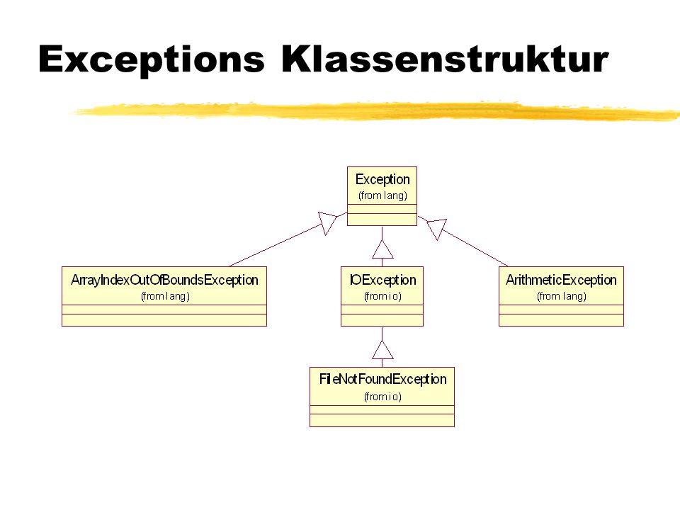 Vorteile von Exceptions zTrennung des Fehlerbehandlungscodes vom normalen Programm.