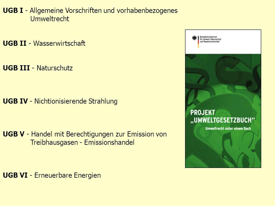 UGB I - Allgemeine Vorschriften und vorhabenbezogenes Umweltrecht UGB II - Wasserwirtschaft UGB III - Naturschutz UGB IV - Nichtionisierende Strahlung UGB V - Handel mit Berechtigungen zur Emission von Treibhausgasen - Emissionshandel UGB VI - Erneuerbare Energien