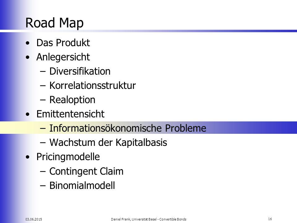 03.06.2015Daniel Frank, Universität Basel - Convertible Bonds16 Road Map Das Produkt Anlegersicht –Diversifikation –Korrelationsstruktur –Realoption E
