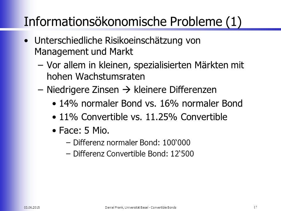 03.06.2015Daniel Frank, Universität Basel - Convertible Bonds17 Informationsökonomische Probleme (1) Unterschiedliche Risikoeinschätzung von Managemen