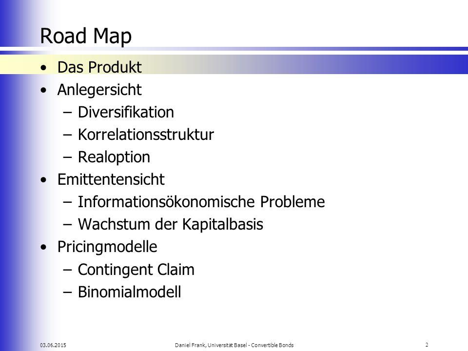 03.06.2015Daniel Frank, Universität Basel - Convertible Bonds2 Road Map Das Produkt Anlegersicht –Diversifikation –Korrelationsstruktur –Realoption Em