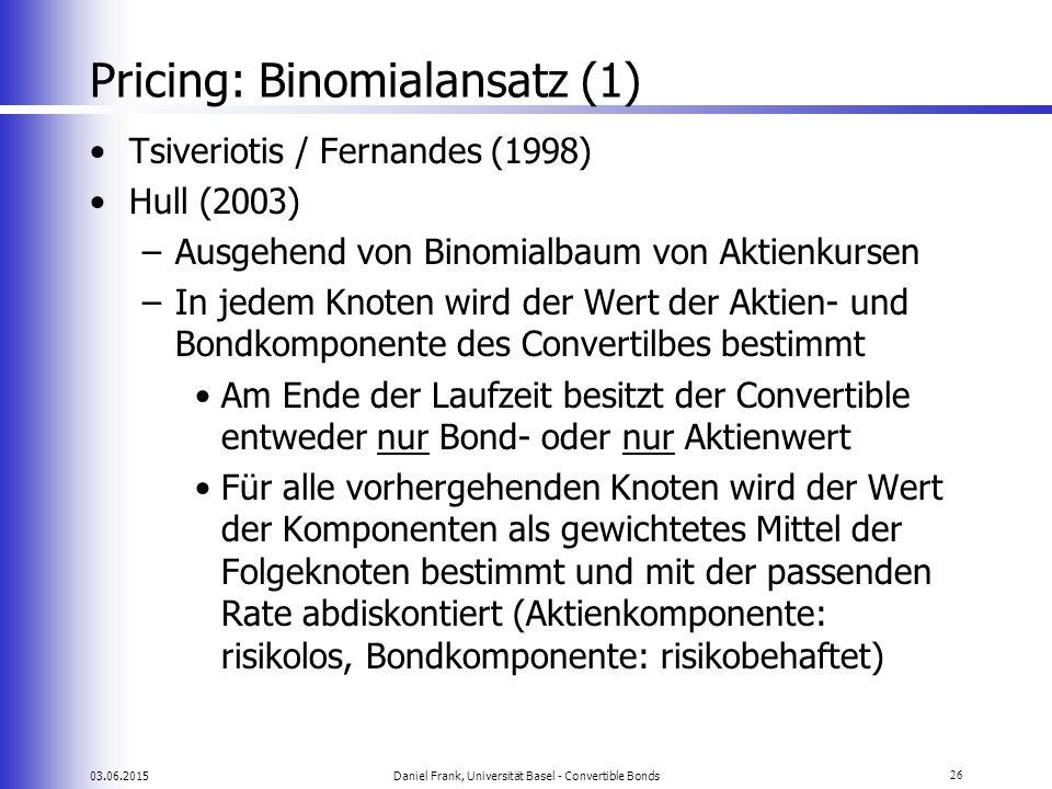 03.06.2015Daniel Frank, Universität Basel - Convertible Bonds26 Pricing: Binomialansatz (1) Tsiveriotis / Fernandes (1998) Hull (2003) –Ausgehend von