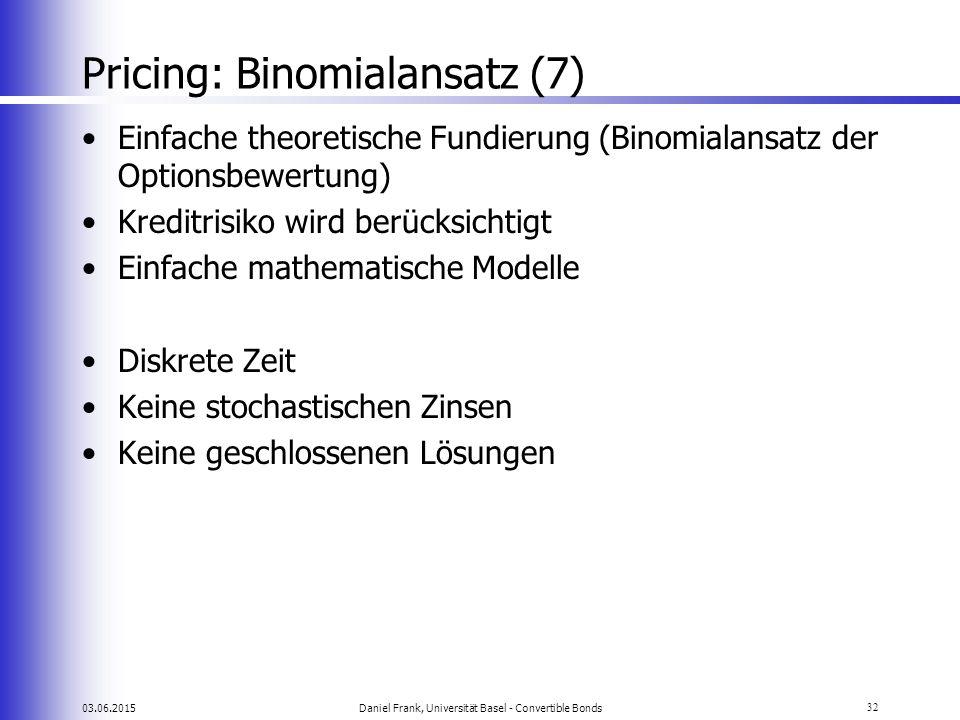 03.06.2015Daniel Frank, Universität Basel - Convertible Bonds32 Pricing: Binomialansatz (7) Einfache theoretische Fundierung (Binomialansatz der Optio