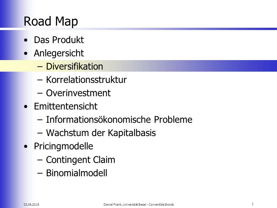03.06.2015Daniel Frank, Universität Basel - Convertible Bonds5 Road Map Das Produkt Anlegersicht –Diversifikation –Korrelationsstruktur –Overinvestmen