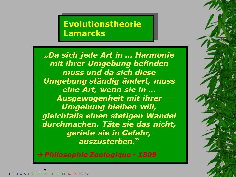 """Evolutionstheorie Lamarcks """"Da sich jede Art in … Harmonie mit ihrer Umgebung befinden muss und da sich diese Umgebung ständig ändert, muss eine Art,"""