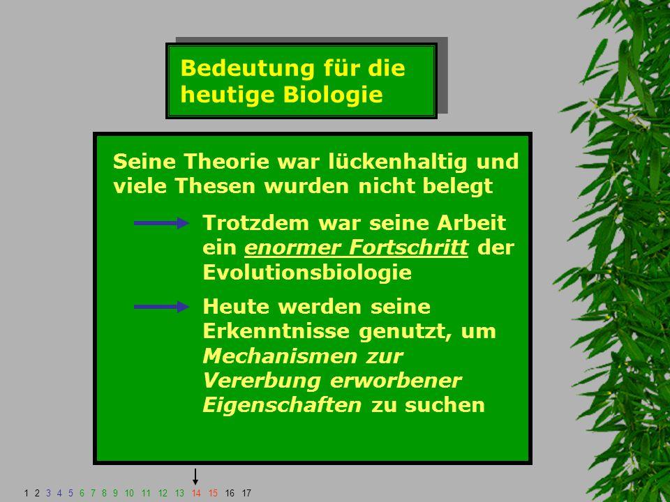 Bedeutung für die heutige Biologie Seine Theorie war lückenhaltig und viele Thesen wurden nicht belegt Trotzdem war seine Arbeit ein enormer Fortschri