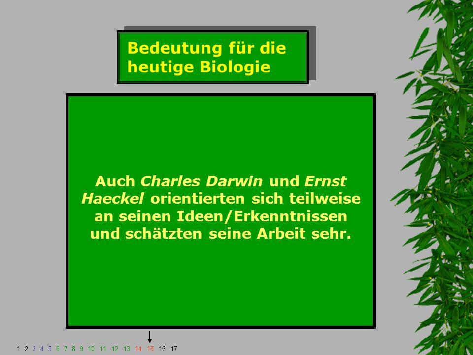 Bedeutung für die heutige Biologie Auch Charles Darwin und Ernst Haeckel orientierten sich teilweise an seinen Ideen/Erkenntnissen und schätzten seine