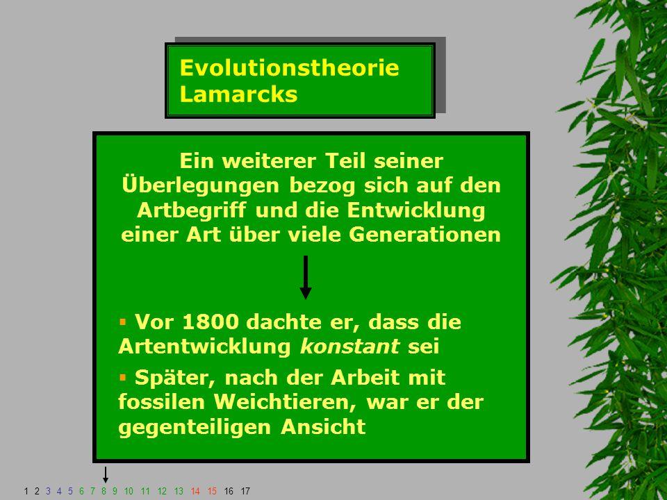 Evolutionstheorie Lamarcks Ein weiterer Teil seiner Überlegungen bezog sich auf den Artbegriff und die Entwicklung einer Art über viele Generationen 