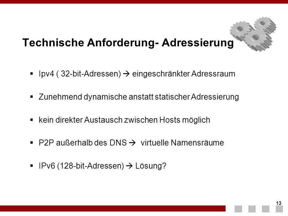13 Technische Anforderung- Adressierung  Ipv4 ( 32-bit-Adressen)  eingeschränkter Adressraum  Zunehmend dynamische anstatt statischer Adressierung