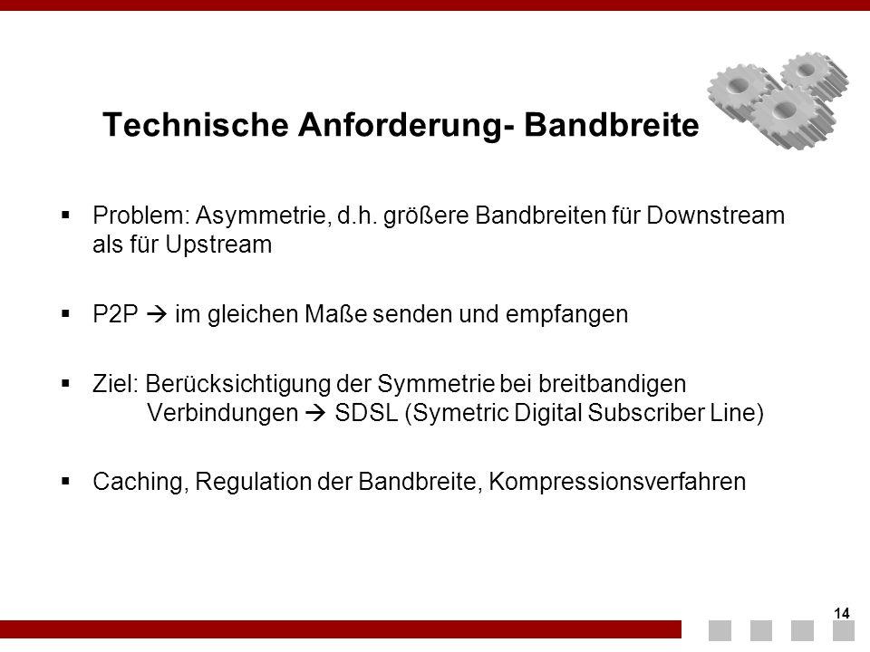 14 Technische Anforderung- Bandbreite  Problem: Asymmetrie, d.h. größere Bandbreiten für Downstream als für Upstream  P2P  im gleichen Maße senden