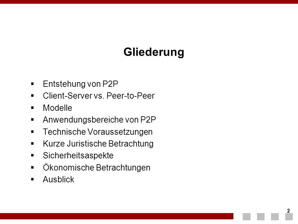 2 2 Gliederung  Entstehung von P2P  Client-Server vs. Peer-to-Peer  Modelle  Anwendungsbereiche von P2P  Technische Voraussetzungen  Kurze Juris