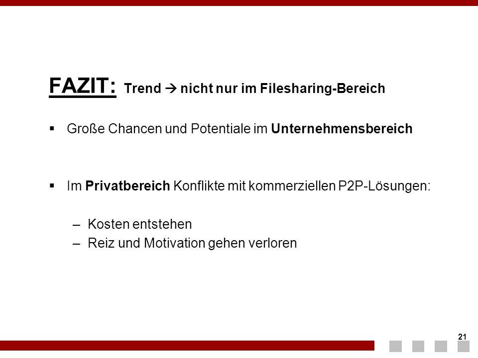 21 FAZIT: Trend  nicht nur im Filesharing-Bereich  Große Chancen und Potentiale im Unternehmensbereich  Im Privatbereich Konflikte mit kommerzielle