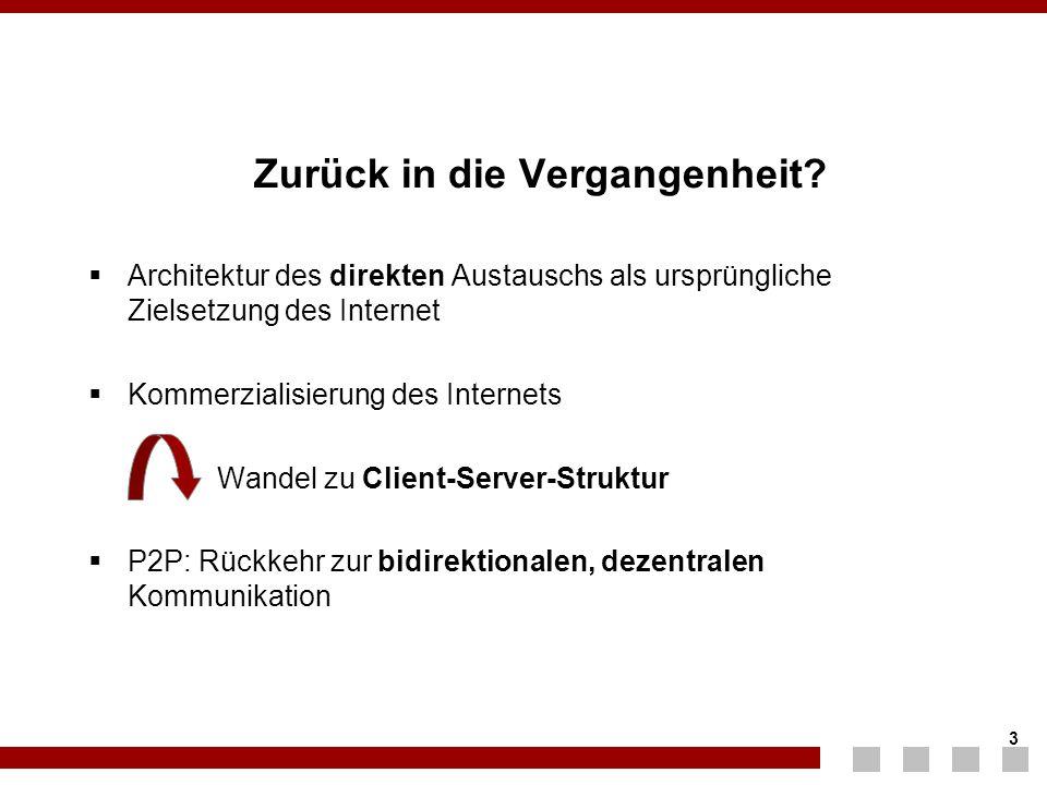 3 3 Zurück in die Vergangenheit?  Architektur des direkten Austauschs als ursprüngliche Zielsetzung des Internet  Kommerzialisierung des Internets W