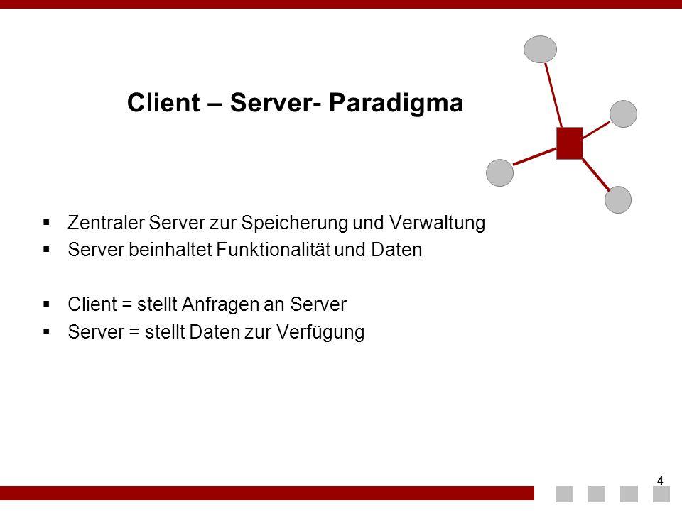 4 4 Client – Server- Paradigma  Zentraler Server zur Speicherung und Verwaltung  Server beinhaltet Funktionalität und Daten  Client = stellt Anfrag