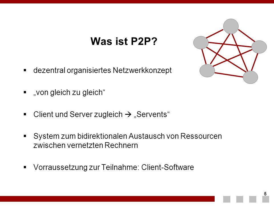 """5 5 Was ist P2P?  dezentral organisiertes Netzwerkkonzept  """"von gleich zu gleich""""  Client und Server zugleich  """"Servents""""  System zum bidirektion"""