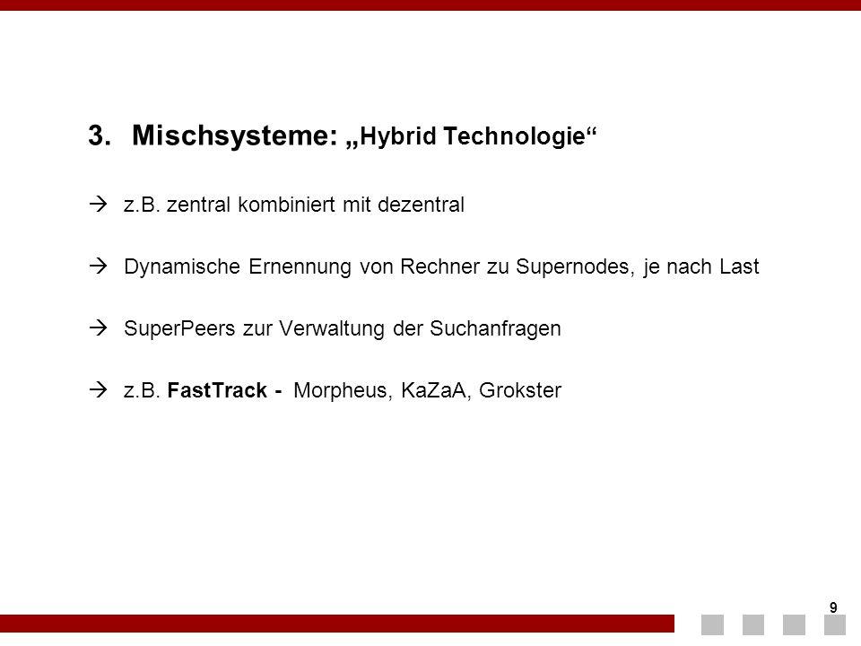 """9 9 3. Mischsysteme: """" Hybrid Technologie""""  z.B. zentral kombiniert mit dezentral  Dynamische Ernennung von Rechner zu Supernodes, je nach Last  Su"""